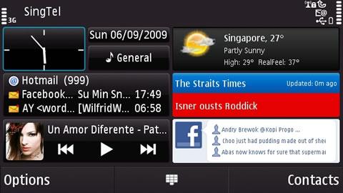 Home Screen of Nokia N97